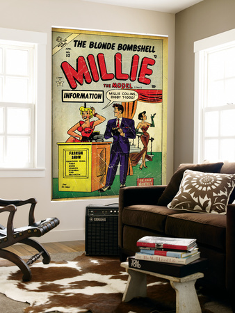Marvel Comics Retro: Millie the Model Comic Book Cover #53, Fashion Show Information Booth (aged) Wall Mural