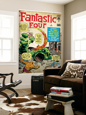 Marvel Comics Retro: Fantastic Four Family Comic Book Cover No.1 (aged) Reproduction murale géante