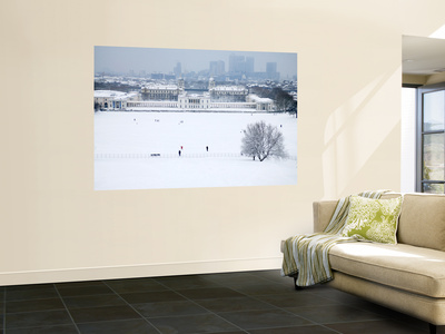 Maritime Museum, Royal Naval College and Canary Wharf Covered in Snow, from Greenwich Park Wall Mural by Doug McKinlay