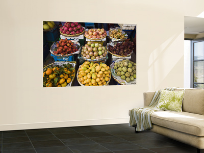 Display of Tropical Fresh Fruit in Market, Including Rambutans, Mangoes, Longans and Dragon Fruit Wall Mural by Anders Blomqvist