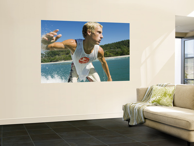 Surfer Riding a Wave Wall Mural by Christian Aslund