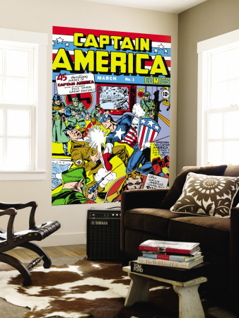 Captain America Comics No.1 Cover: Captain America, Hitler and Adolf Wall Mural by Jack Kirby