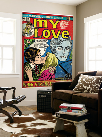 Marvel Comics Retro: My Love Comic Book Cover #20, Kissing, When Strangers meet! (aged) Wall Mural