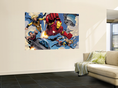 The Mighty Avengers No.8 Group: Iron Man, Ms. Marvel, Sentry and Wonder Man Wall Mural by Mark Bagley
