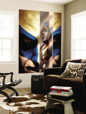 Wolverine No.40 Cover: Wolverine, Captain America, Iron Man and Spider-Man Wall Mural by Javier Saltares