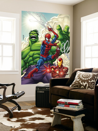 Marvel Adventures Super Heroes No.1 Cover: Spider-Man, Iron Man and Hulk Wall Mural by Roger Cruz