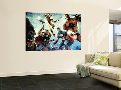 Avengers vs. Atlas #1 Group: Thor, Iron Man, Captain America and Giant Man Mural