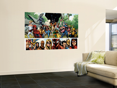 Secret Invasion #1 Group: Captain America, Spider-Man and Vision Mural