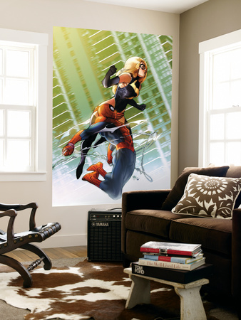 Ms. Marvel No.47 Cover: Ms. Marvel and Spider-Man Wall Mural by Pasqual Ferry