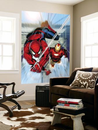 Invincible Iron Man No.7 Cover: Iron Man and Spider-Man Wall Mural by Salvador Larroca