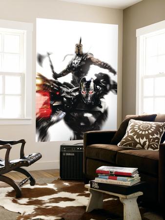 War Machine No.4 Cover: War Machine and Ares Fighting Wall Mural by Francesco Mattina