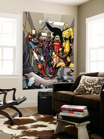 Dark X-Men No.3 Group: Iron Patriot, Wolverine, Ms. Marvel, Hawkeye, Ares and Sentry Fighting Wall Mural by Kirk Leonard