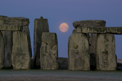 Stonehenge Moon Photographic Print by Charles Bowman