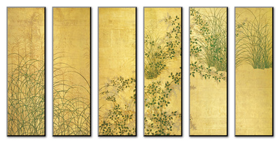 Japanese Autumn Grasses, Six-Fold Screen, Early Edo Period Affiche montée