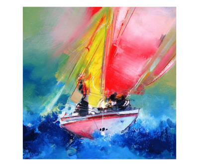 Voiles Rouges Mer Bleue Poster by Max Laigneau