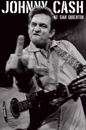 Johnny Cash - San Quentin Portre Poster