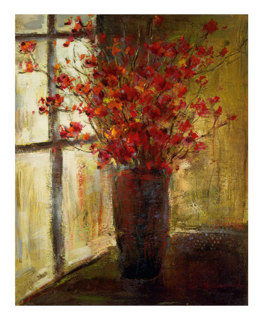 Vase of Red Flowers Poster by Christine Stewart