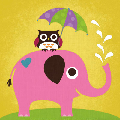 Elephant and Owl with Umbrella Print by Nancy Lee