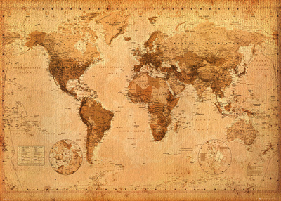 World Map- Antique Póster de gran tamaño