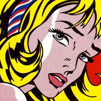 Girl with Hair Ribbon, c.1965 ポスター : ロイ・リキテンシュタイン