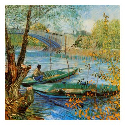 La Pêche Au Printemps, Pont De Clichy Prints by Vincent van Gogh
