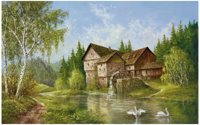 Mill With Swans Prints by Helmut Glassl
