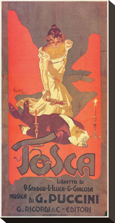Puccini, Tosca Stretched Canvas Print by Adolfo Hohenstein