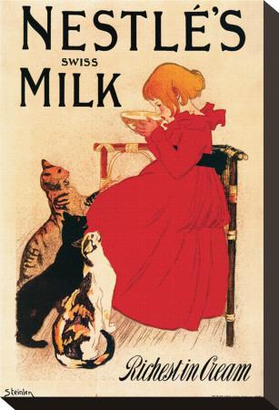 Nestle's Swiss Milk Stretched Canvas Print by Théophile Alexandre Steinlen
