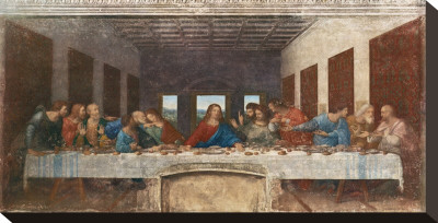 Den Sidste Nadver, ca. 1498 Opspændt lærredstryk af Leonardo da Vinci,