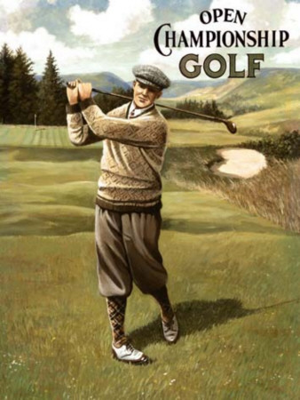 Open Golf man Tin Sign