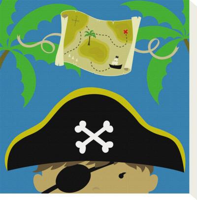 Peek-a-Boo Heroes: Pirate Stretched Canvas Print by Yuko Lau