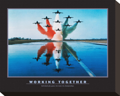 Working Together Stretched Canvas Print