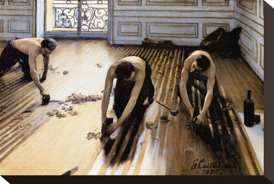 Wood Floor Planers Stretched Canvas Print by Gustave Caillebotte