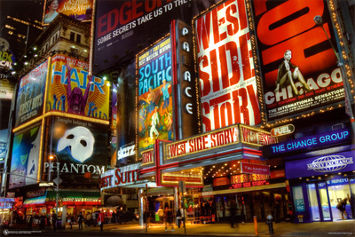 Le Theater District de Times Square, New York Affiche