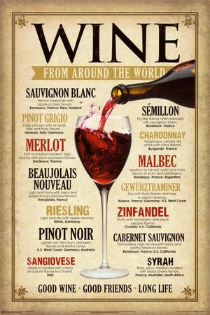 Vin fra hele verden, på engelsk Plakat
