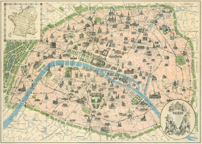 Vintage Paris Map Posters by  The Vintage Collection