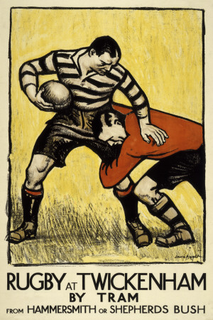 Rugby at Twickenham Art by  The Vintage Collection