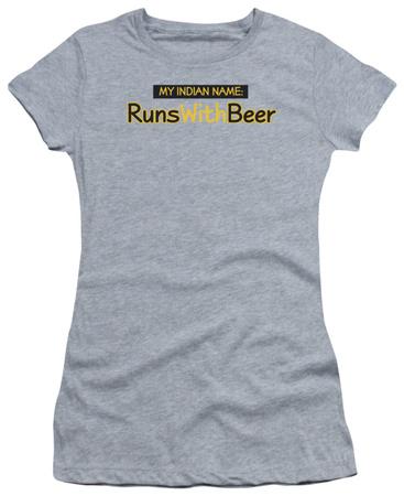 Juniors: Runs With Beer T-shirts