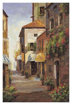 Flowered Alleyway Print by A Herbert