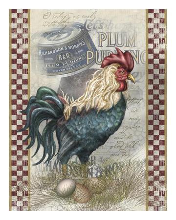 True Blue Rooster Prints by Alma Lee