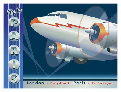 Fly to Paris Print by David Grandin