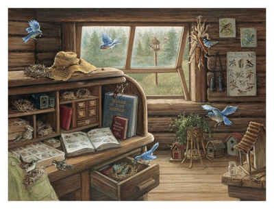 Birdwatchers Retreat Art by Janet Kruskamp