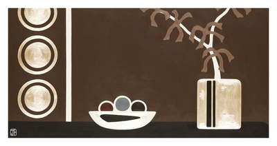Brown and Gold Orchids with Fruit Bowl Posters by Joel Henriques