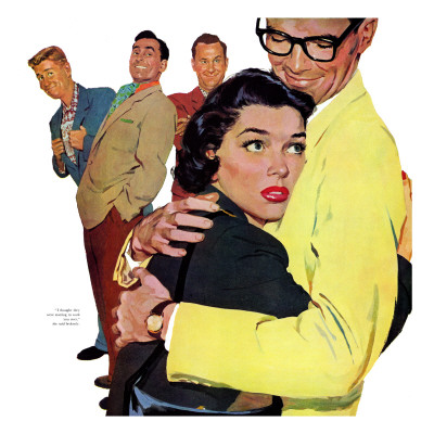 """The Crying Cop - Saturday Evening Post """"Leading Ladies"""", November 2, 1957 pg.37 Giclee Print by Mike Ludlow"""