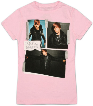 Youth: Justin Bieber - Cut and Paste Pink T-Shirt