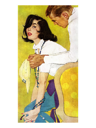 "Love is a Waiting Game - Saturday Evening Post ""Leading Ladies"", February 6, 1960 pg.38 Giclee Print by Robert Jones"