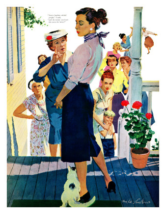 """Strangers in Town, 2 - Saturday Evening Post """"Leading Ladies"""", May 30, 1959 pg.19 Giclee Print by Mike Ludlow"""