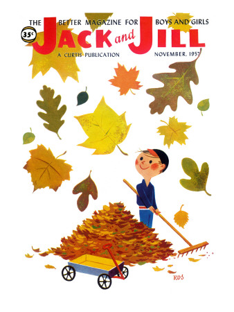 Raking Leaves - Jack and Jill, November 1957 Giclee Print by  RVS