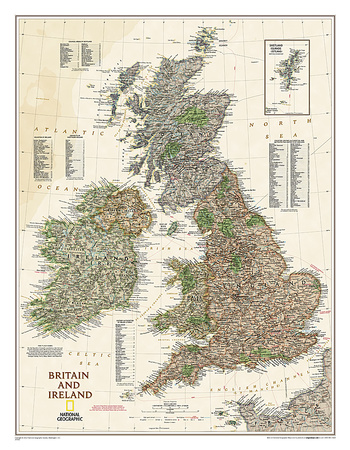 National Geographic - Map of Britain & Ireland Executive Style Posters