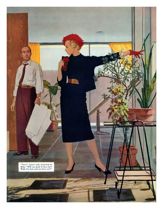 "The Brute Next Door  - Saturday Evening Post ""Leading Ladies"", October 9, 1954 pg.22 Giclee Print by Austin Briggs"